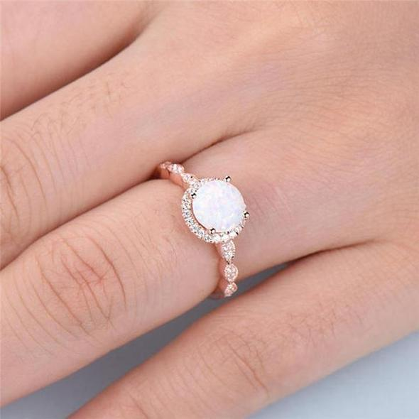 Fire Rose Opal Ring