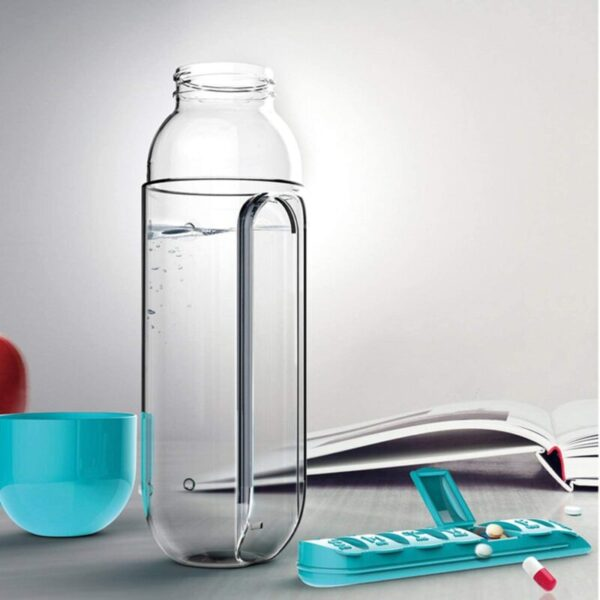 Water Bottle with Inserted Daily Pill Case Holder 100% Eco-Friendly for Outdoor, Gym Use, Travel