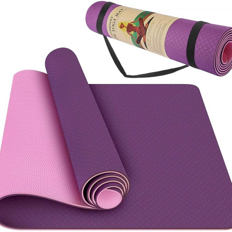 Yoga Mat Non Slip Fitness Exercise Mat High Density Padding to Avoid Sore Knees, Perfect for Yoga, Pilates and Fitness, Anti – Tear, Sweat – Proof, 1/4 Inch Thick