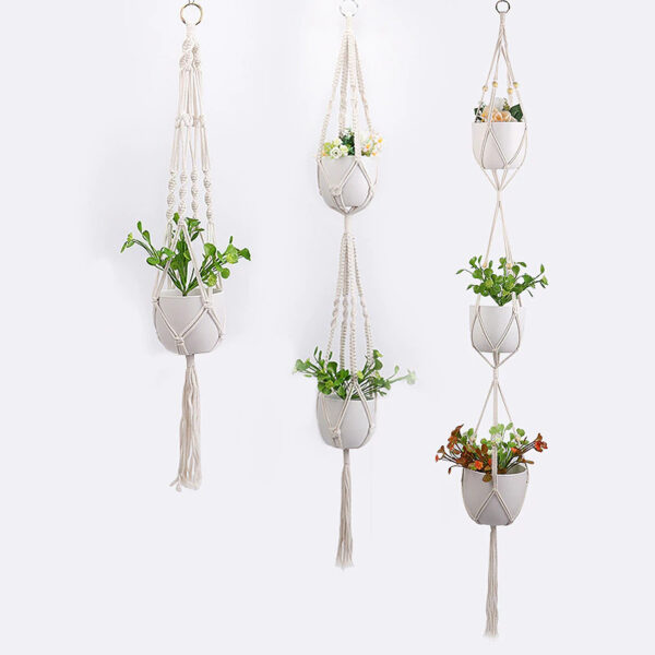 Handmade Hanging Plant Holder Baskets Stand Flower Pot Holder with Wood Beads